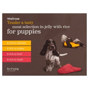 Waitrose meat in jelly with rice for puppies