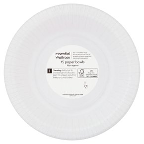 essential Waitrose 18cm paper bowls, pack of 15