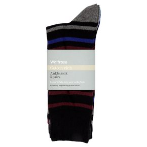 Waitrose C'Rich Stripe Spot Ankle Socks