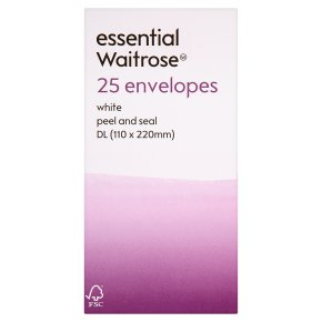 essential Waitrose 110x220mm DL white wnvelopes, pack of 25