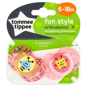Tommee Tippee 6-18month closer to nature fun style soother, pack of 2, assorted