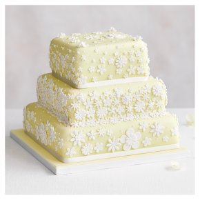 Blossom 3 Tier Pastel Yellow Wedding Cake, Fruit (Base tier) & Golden Sponge (Middle) & Chocolate Salted Caramel (top tier)