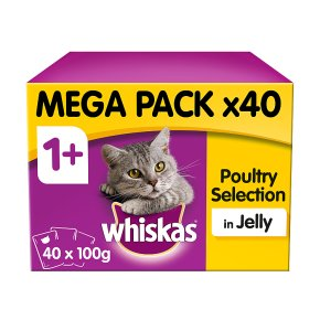 WHISKAS 1+ Cat Pouches Poultry Selection in Jelly 40 x 100g Mega