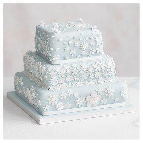 Blossom 3 Tier Pastel Blue Wedding Cake, Fruit (Base tier) & Lemon Sponge (top 2 tiers)