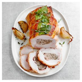 Turkey Breast with Pork, Sage & Caramelised Onion Stuffing, Wrapped in a Bacon Lattice