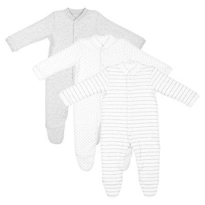035f7f5dc8ba Waitrose white   grey baby sleepsuits 3 pack