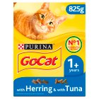 Go-Cat Adult Dry Cat Food Tuna Herring and Veg - 825g